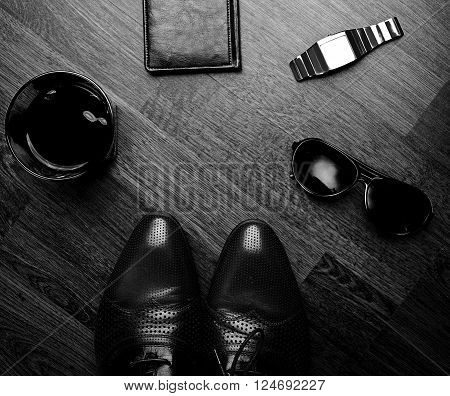 Men fashion. Men accessories Still life. Business look.