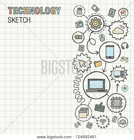 Technology hand draw integrate icons set on paper. Colorful vector sketch infographic illustration. Connected doodle pictograms. internet, digital, market, media, computer, network interactive concept