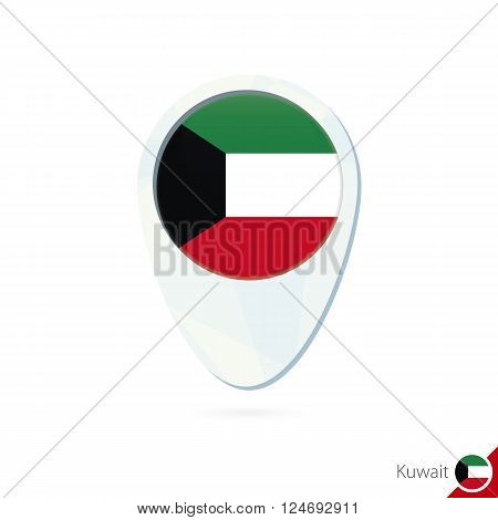 Kuwait Flag Location Map Pin Icon On White Background.