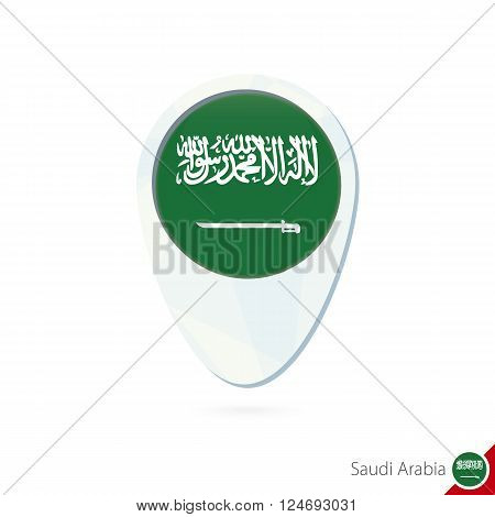 Saudi Arabia Flag Location Map Pin Icon On White Background.
