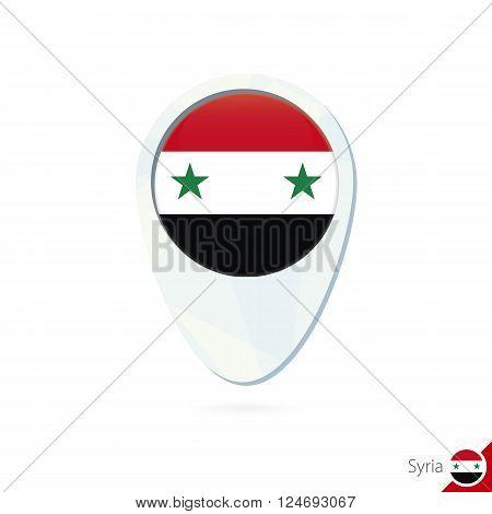 Syria Flag Location Map Pin Icon On White Background.