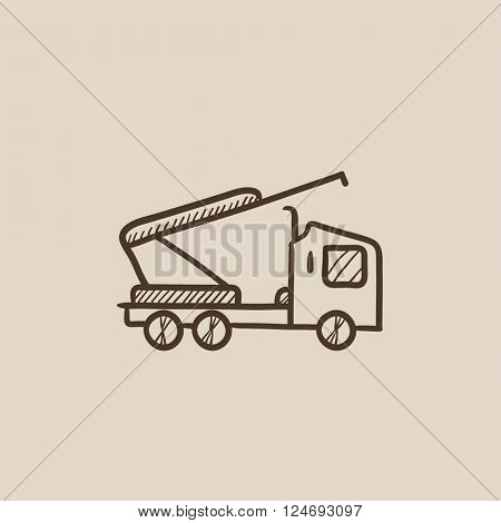 Machine with a crane and cradles sketch icon.