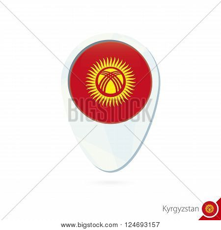 Kyrgyzstan Flag Location Map Pin Icon On White Background.