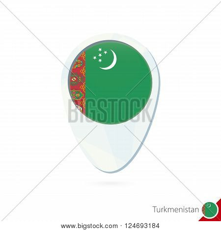 Turkmenistan Flag Location Map Pin Icon On White Background.