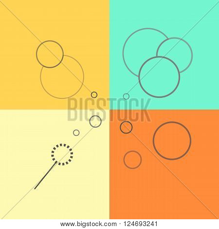 Flat vector line icons of soap bubbles on a colorful background. Soap sud line illustration.