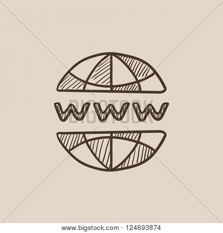Globe internet sketch icon.