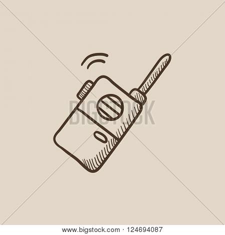 Portable radio set sketch icon.