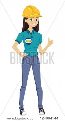 Illustration of a Teenage Girl Wearing an Election Badge