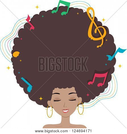 Illustration of a Black Woman with Music Notes on Her Afro