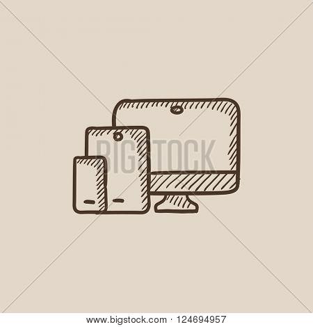 Responsive web design sketch icon.