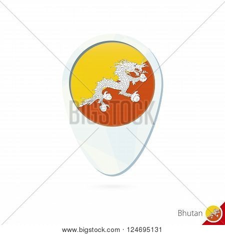 Bhutan Flag Location Map Pin Icon On White Background.
