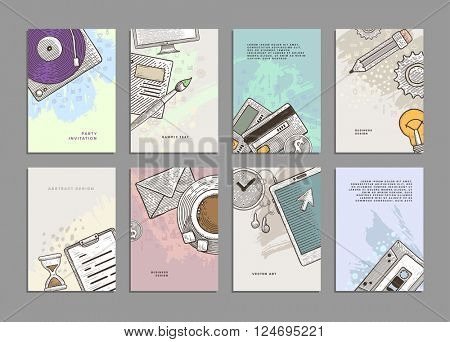 Set of Cards with Engraving Vintage Style Business Icons. Office Supplies and Business Elements.Design for Flyers, Placards, Posters, Invitations, Brochures. Artistic Creative Templates.