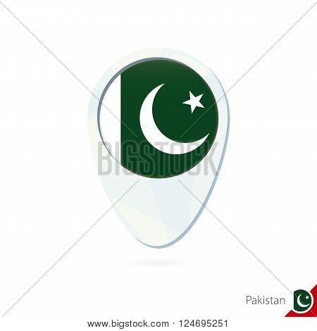 Pakistan Flag Location Map Pin Icon On White Background.