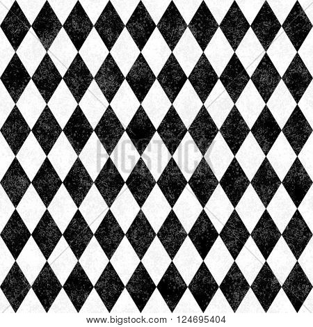 Black and White Grunge Diamond Tile Pattern Repeat Background that is seamless and repeats