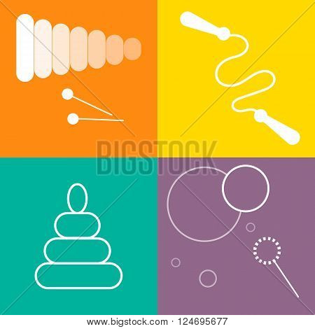 Toys icons set. White line art on colorful background. Outdoor and educational toys icon set. Children games concept