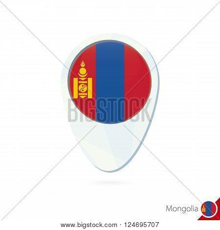 Mongolia Flag Location Map Pin Icon On White Background.