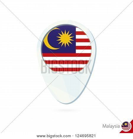 Malaysia Flag Location Map Pin Icon On White Background.