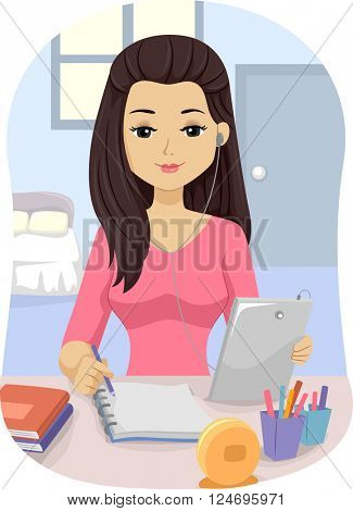 Illustration of a Teenage Girl Using a Tablet Computer to Help with Her Studying