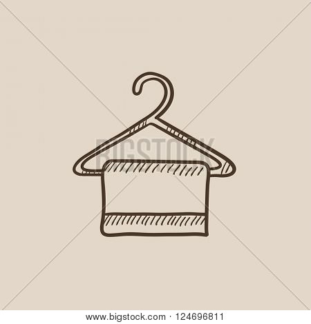 Towel on hanger sketch icon.