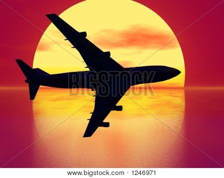 Sundown And Plane Silhouette