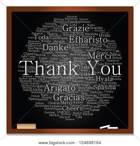 Vector concept or conceptual blackboard thank you word cloud, different languages or multilingual for education or thanksgiving day