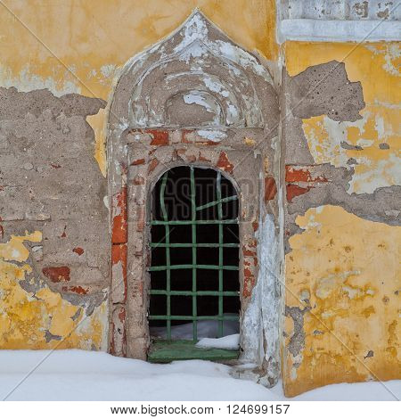 Old facade with window. Architecture of Uglich, Russia