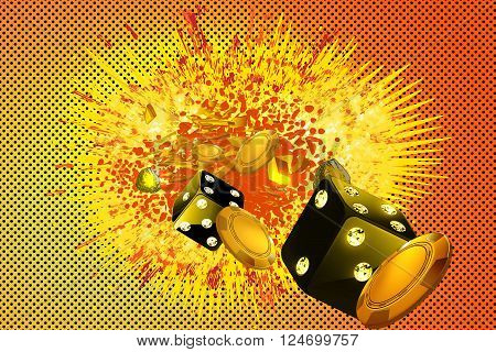 Casino comics style explosion background with casino elements floating
