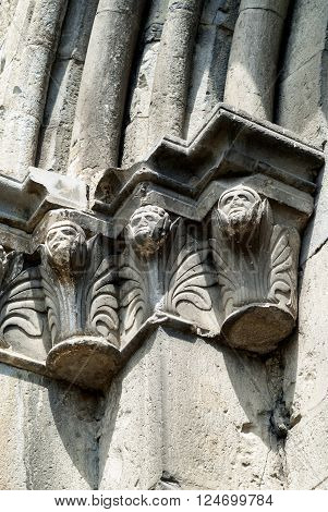 Seyne (Alpes-de-Haute-Provence Provence-Alpes-Cote-d'Azur France): facade of the historic church detail