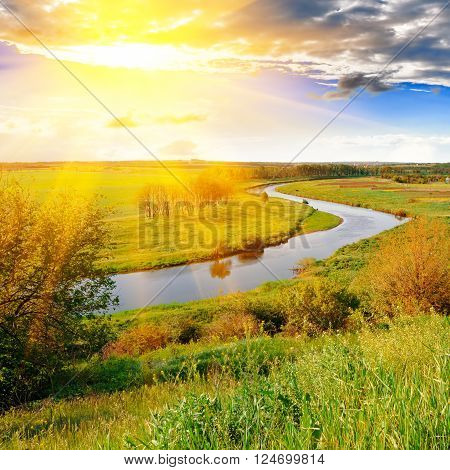 The bright evening sun over the river and green meadows ** Note: Visible grain at 100%, best at smaller sizes