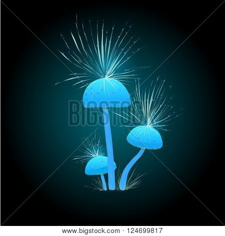 Fantastic glowing light blue mushrooms. Games icon with fluffy mushrooms on a dark background. Mushrooms with piece of fluff. Mycena cyanorrhiza