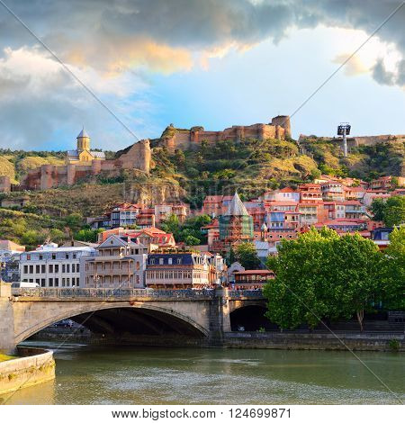 Old Town in the capital of Georgia Tbilisi in the evening. Caucasus. ** Note: Visible grain at 100%, best at smaller sizes