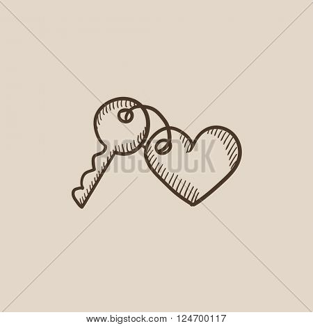 Trinket for keys as heart sketch icon.