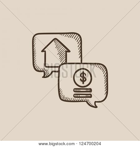Real estate transaction sketch icon.