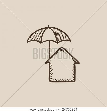 House under umbrella sketch icon.