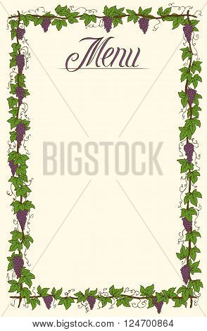 Hand Drawn Menu Page Design with Ripe Grapes and Green Leaves