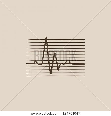Hheart beat cardiogram sketch icon.