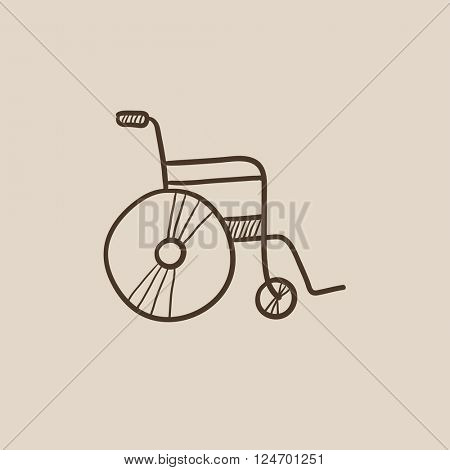 Wheelchair sketch icon.