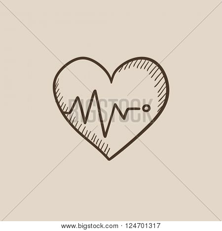Heart with cardiogram sketch icon.