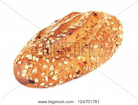 wholegrain bread with oats and nuts, isolated on white background