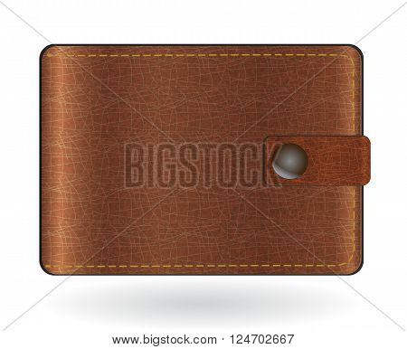 Brown leather wallet, vector illustration isolated on white