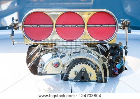 powerful blower supercharger on a high performance racing vehicle