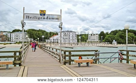 HEILIGENDAMM GERMANY - June 26 2012: Pier in Heiligendamm. This beach resort hosts several famous global events like G8 in 2007.