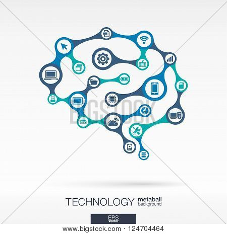 Abstract technology background with connected metaball and integrated circles. Brain concept with network, computer, technology, digital, computing icons. Vector interactive illustration