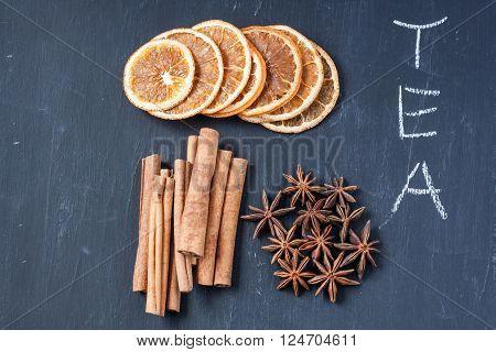herbal tea with cinnamon, star anise and dried orange
