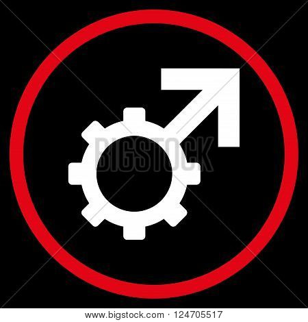 Technological Potence vector bicolor icon. Image style is a flat icon symbol inside a circle, red and white colors, black background.