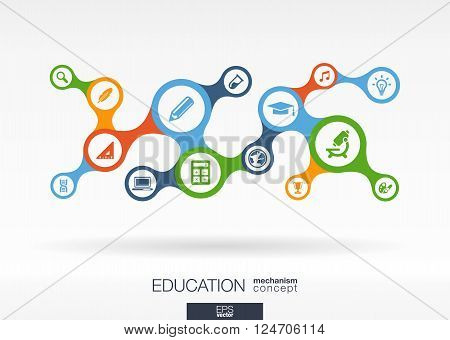 Education. Growth abstract background with connected metaball and integrated icons for elearning, knowledge, learn, analytics, network, social media, global concepts. Vector interactive illustration