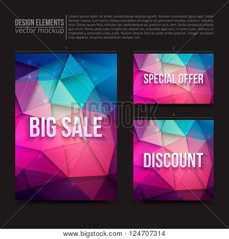 Vector design elements: flayer, card, banner.  Big sale, special offer, discount. Vector design template. Vector typography design. Vector design mock-up. Vector geometric background. Business vector