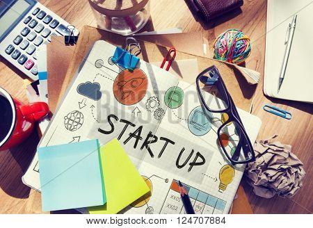 Stationary Office Desk Start up Concept