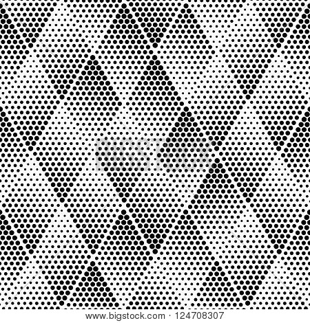 Vector geometric halftone seamless pattern. Retro pointillism vector seamless background. Vector old school design. Vector dotted texture
