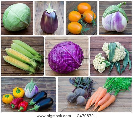 collage of photos set of vegetables on a wooden background close up